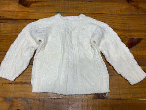 OLD NAVY Boys Cable Knit Fishermans SWEATER, Size 4T, Cream White, Crew Neck EUC
