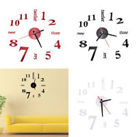 DIY Large 3D Number Mirror Wall Stickers Watch Home Decor Art Clock decor Pip