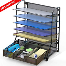6 Trays Desk Document File Tray Organizer With Supplies Sliding Drawer Black