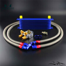 7 Row AN10 Engine Racing Oil Cooler w/ 80 Deg Thermostat Oil Filter Adapter Kit