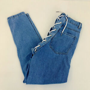 """Luxe To Kill Acid Wash Lace Up Back Corset Jeans Slim Leg W28"""" L28.5"""""""
