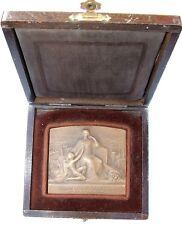 Belle Plaque Médaille Bronze par BLIN Cie Générale d'Electricité 70x64 mm  212 g