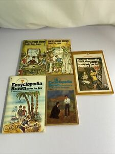 Lot Of 5 Encyclopedia Brown Books Donald J. Sobol Mystery Chapter Books For Kids