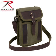 Rothco 2349 Canvas Travel Portfolio Bag With Leather Accents - Olive Drab