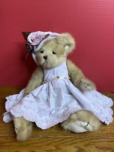 """LILA  Bearington 16"""" Bear Lavender Dress Hat With Flower Collectible Series Rare"""