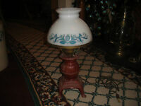 Vintage Pot Belly Stove Cast Metal Table Lamp Country Folk Art Glass Shade