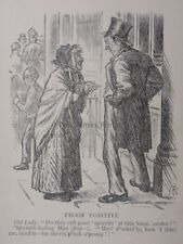 Drunk & Old Lady outside a Pub PROOF POSITIVE 'Sperrits' - Antique Punch Cartoon