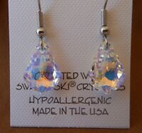 HYPOALLERGENIC Dangle Earrings Lead free Nickel free Surgical Steel AB Crystal