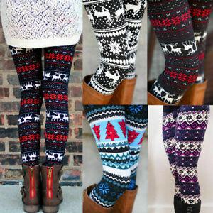 Womens High Waist Loungewear Christmas Leggings Ladies Floral Xmas Trousers