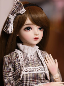 60cm BJD Doll Girls Gift 1/3 Brown Hair Doll with Full Set Plaid Skirt Clothes