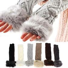 EG_ Lady Winter Faux Rabbit Fur Cable Knit Fingerless Long Gloves Arm Warmers Pr