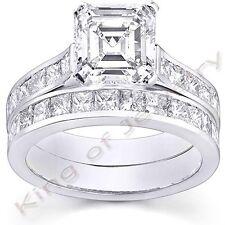 4.06 Ct. Asscher Cut Diamond Engagement Bridal Set