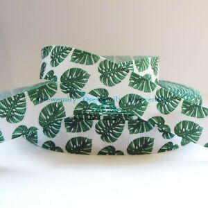 Per Metre - Monstera Leaf 22mm Printed Grosgrain Ribbon / Party Cake/ Hair Bow