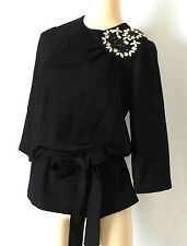 KARTA Evening Top Belted Embellishment Black 3/4 Sleeve Size XS
