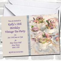 Floral Teacups Pretty Vintage Tea Party Invitations