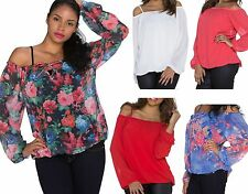 LADIES CHIFFON OFF THE SHOULDER PARTY SUMMER CAMISOLE BOHO TOP BLOUSE SIZE 10-12