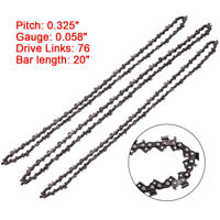 3x 20'' Inch Bar Chainsaw Chain Saw 325 Pitch 76 Link 058 For Baumr-Ag SX62 SX66