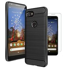 For Google Pixel 3a Case Carbon Fibre Cover & Glass Screen Protector