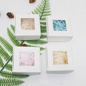 50Pcs Kraft Paper Candy Box Transparent Window Soap Wedding Birthday Christmas