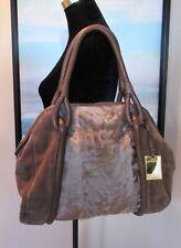 FURLA Italy Brown Suede Curly Fur Large Satchel Handbag