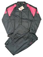 Reebok Women's Tracksuit Lightweight Slim Fit Black/Pink Sports Gym Size M 12-14