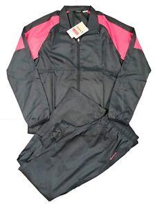Reebok Women's Tracksuit Lightweight Slim Fit Black/Pink Sports Gym Size XS 4-6