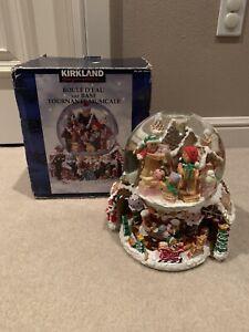 Vintage Kirkland Musical Revolving Base Snow Globe Gingerbread House and Family