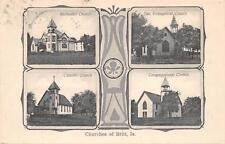 BRITT IA Methodist Catholic Evangelical & Congregational Churches Postcard 1908