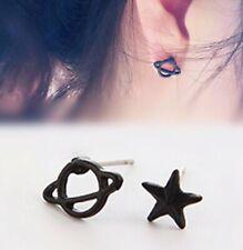 Star and Planet Saturn Ear Stud Earrings Space Planets Ear Rings Black ER04 UK