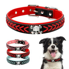 Skull Braided Dog Collars Leather Padded for Small Large Dogs Bulldog Labrador