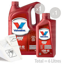 Car Engine Oil Service Kit / Pack 6 LITRES Valvoline MaxLife 10w-40 6L