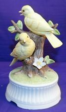 Vintage Arnart Bisque Porcelain Music Box Pair Yellow Birds Plays Tomorrow