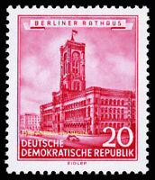 EBS East Germany DDR 1955 - Berlin Town Hall - Rotes Rathaus - Michel 494 MNH**