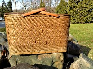 REDMON VINTAGE WOVEN WICKER EXTRA LARGE COUNTRY PICNIC BASKET