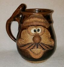 Vintage Hipster Crazy Silly Mustache Face Brown Stoneware Pottery Mug Coffee Cup