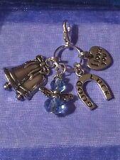 Qualcosa di blu Campane a nozze, angelo in blu, buona fortuna a ferro di cavallo, Ti amo CHARM
