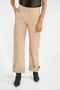 DROME women Trousers Leather Pants Straight Fit Pink S (Standard Size)