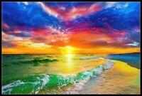 Sunset and Beautiful Ocean - Chart Counted Cross Stitch Pattern Needlework DIY