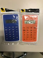 Two Solar Powered Basic 8 Digit Calculators - Blue & Orange - New Price Cut !