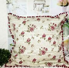 Kissenbezug Kissenhülle Zierkissen Bezug Bommeln Roses Shabby Landhaus Brocante