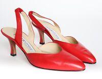 SERGIO ROSSI Vintage Slingback Shoes RedLeather  UK 37.5 / UK 4.5