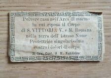 Antica Reliquia Relic Povere rasa nell'arco di marmo S. Vittoria V. M. Romana