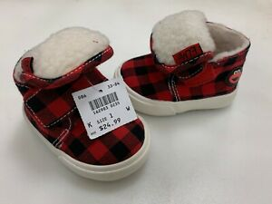 Sesame Street ELMO Tartan Red Plaid Fleece Lined Booties Shoes Size Sz 1 W 1W