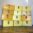 Vintage Wooden Box  Old Yellow Box With Lock  Antique Box  Lots Available