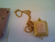 Vintage Mary Kay Solid Perfume Chain &Pendant  Full Pink Lucite Rose Very Rare