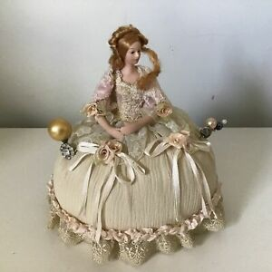 Vintage Style Porcelain Doll Pin Cushion For Sewing & Hat Pins #454