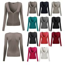 FashionOutfit Women's Solid Deep V-Neck Long Sleeves Button Closure Cardigan