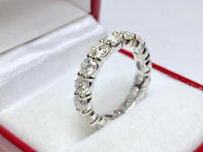 3.74 Ct Round Cut Diamond Engagement Eternity Band 14K Solid White Gold Ring