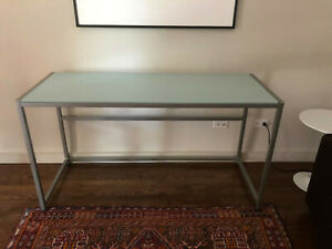 CB2 Trig Frosted Glass and Metal Credenza used good condition local pickup only