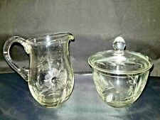 1970s 3 Pc Crystal Creamer and Covered Sugar Bowl with Etched Flowers, Unbranded